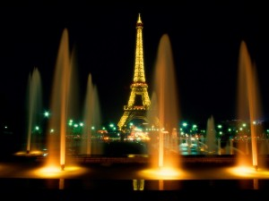 Eiffel Tower at Night, Paris, France