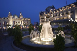 Fountains at dusk in Casino square in Monaco