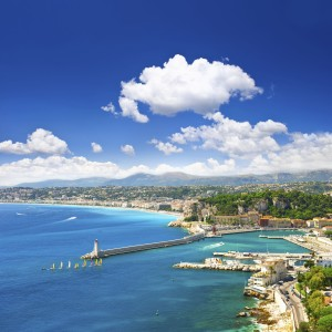 View of mediterranean resort, Nice, Cote d'Azur, France
