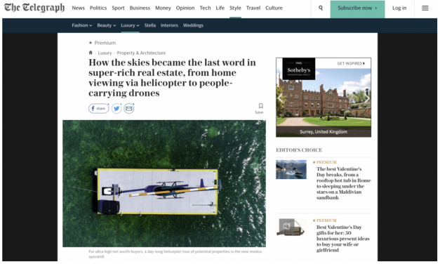 Property viewing via helicopter is taking off, says The Telegraph